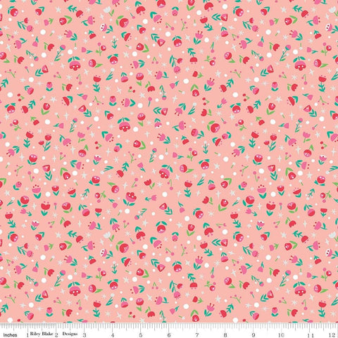 SALE Dorothy's Journey Poppy Pink SPARKLE - Riley Blake Designs - Wizard of Oz Silver SPARKLE Floral - Quilting Cotton Fabric