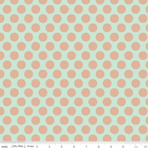 Glam Girl Dots Mint SPARKLE - Riley Blake Designs - Green Dot Dotted Polka Dots Rose Gold METALLIC - Quilting Cotton Fabric
