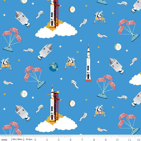 SALE NASA Apollo 11 Outer Space Blue - Riley Blake Designs - The Eagle Has Landed Space Astronauts Rockets  - Quilting Cotton Fabric