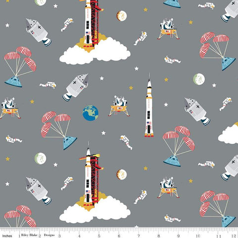 SALE NASA Apollo 11 Outer Space Gray - Riley Blake Designs - The Eagle Has Landed Space Astronauts Rockets  - Quilting Cotton Fabric