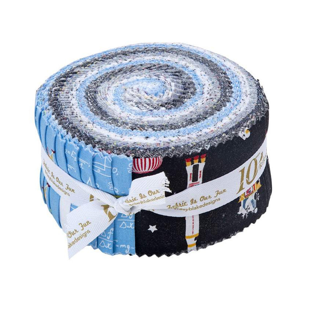 NASA Apollo 11 2.5-Inch Rolie Polie Jelly Roll 40 pieces Riley Blake Designs - Precut Bundle - The Eagle Has Landed -  Quilting Cotton