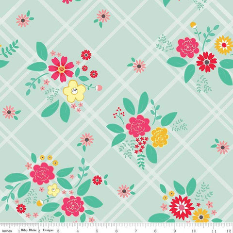 Rose Lane Main Mint - Riley Blake Designs - Green Floral Flowers on Diagnoal Plaid - Quilting Cotton Fabric