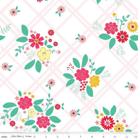 SALE Rose Lane Main White - Riley Blake Designs - Floral Flowers on Diagnoal Plaid - Quilting Cotton Fabric