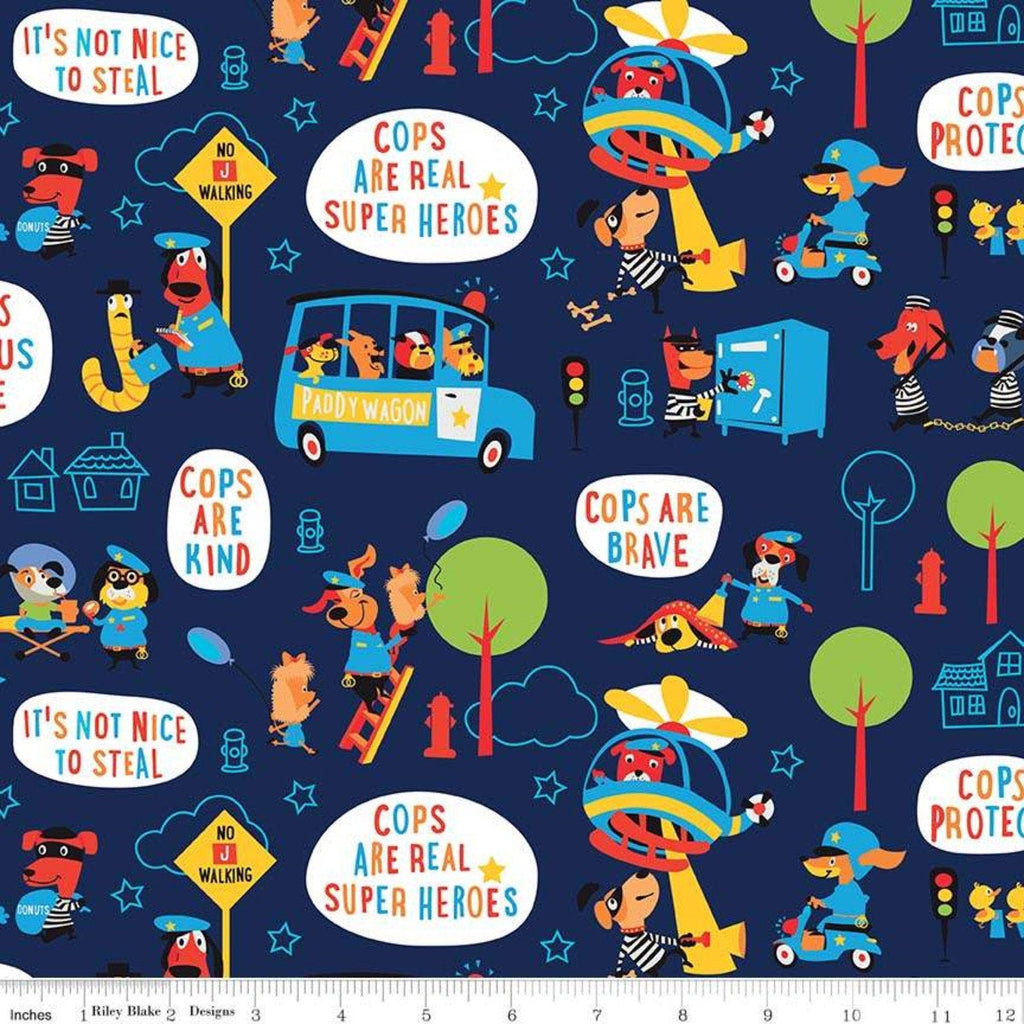 Cops and Robbers Main Navy- Riley Blake Designs - Blue Juvenile Cartoon Animals - Quilting Cotton Fabric