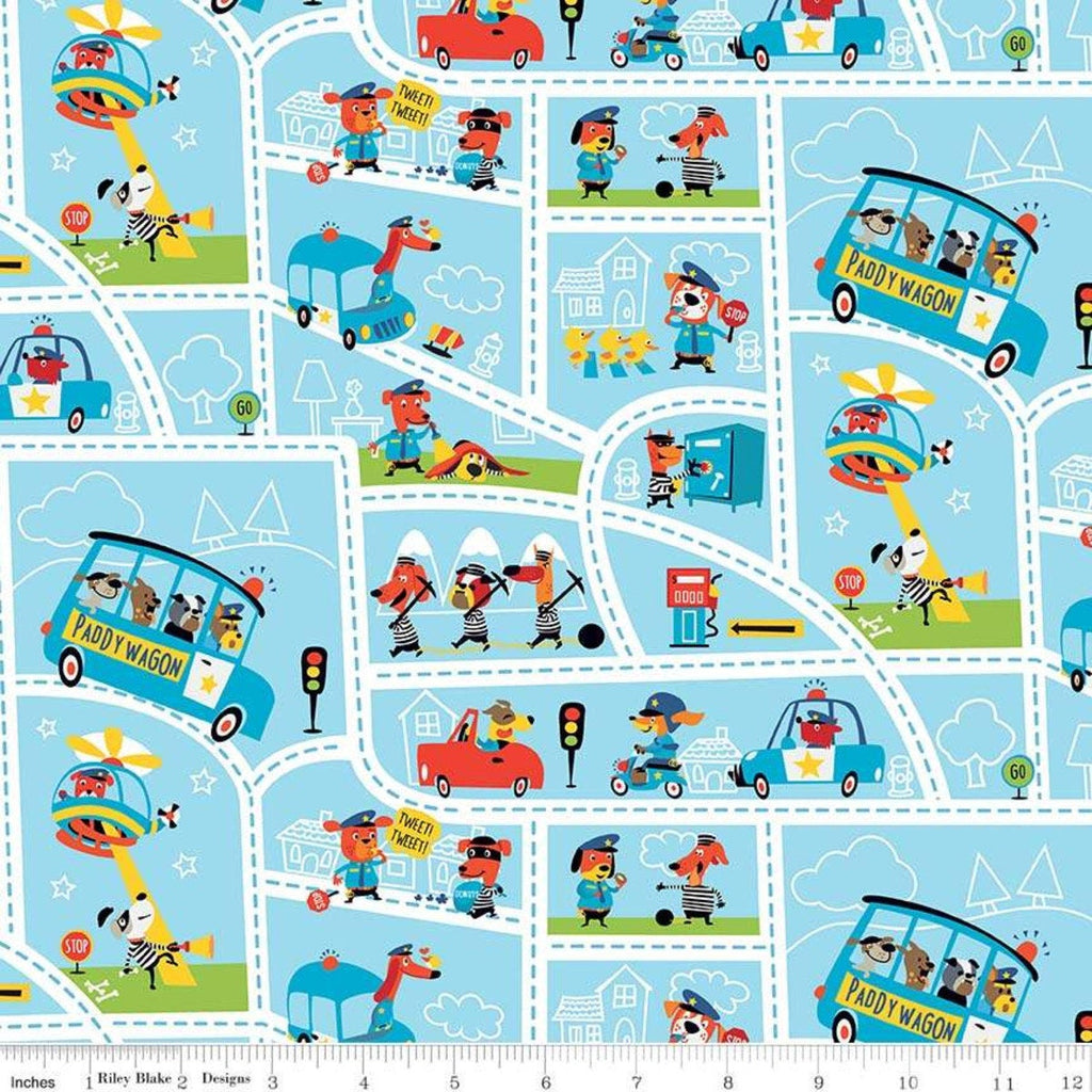 Cops and Robbers Mayberry Blue - Riley Blake Designs - Juvenile Cartoon Animals Street Map -  Quilting Cotton Fabric