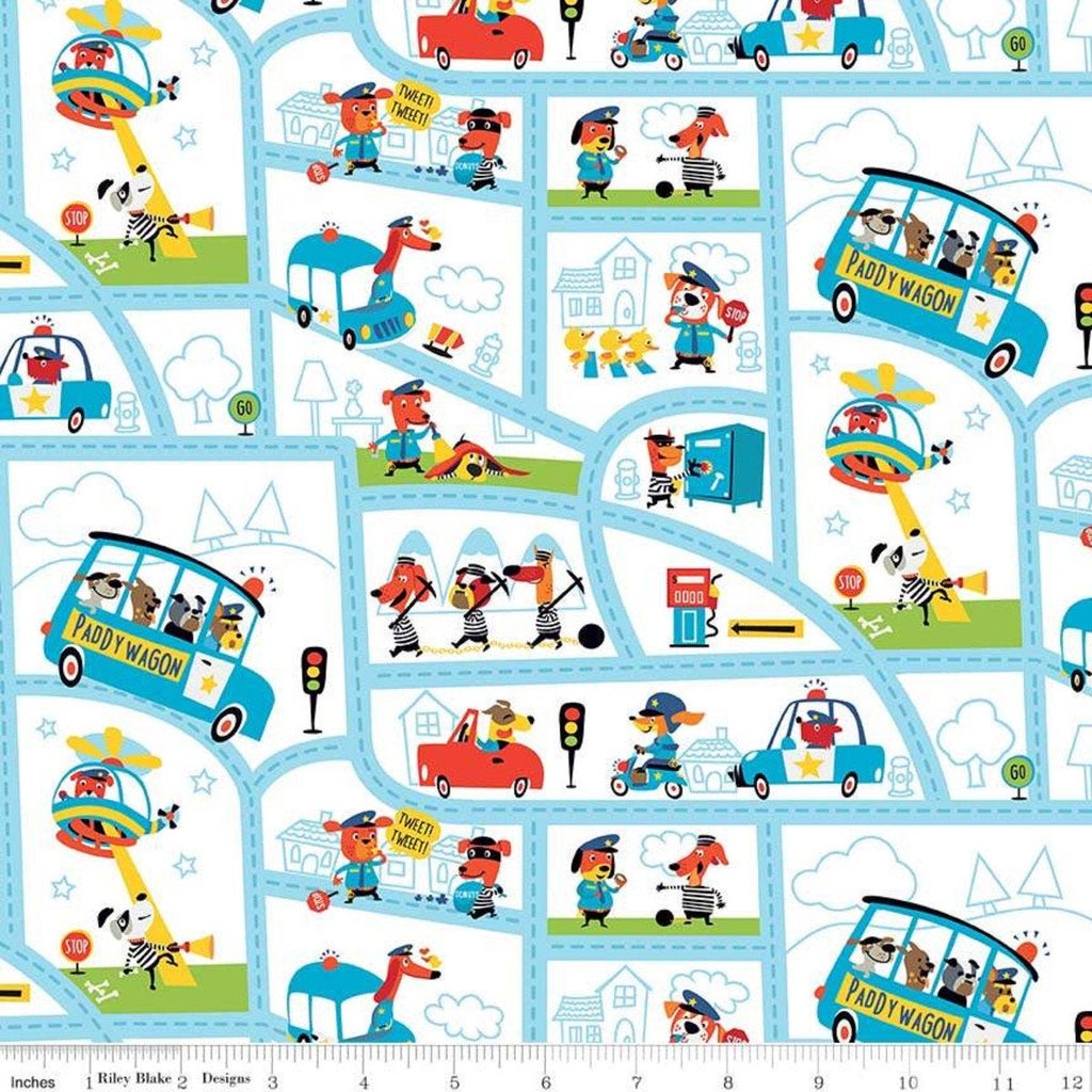 Cops and Robbers Mayberry White - Riley Blake Designs - Juvenile Cartoon Animals Street Map -  Quilting Cotton Fabric