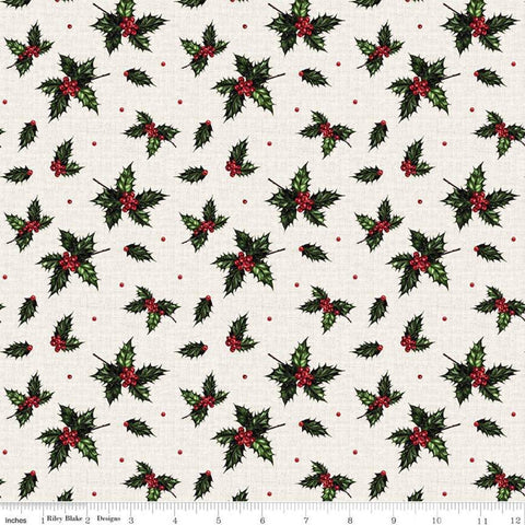 SALE Christmas Memories Holly Cream - Riley Blake Designs - Floral Berries Red Green  - Quilting Cotton Fabric