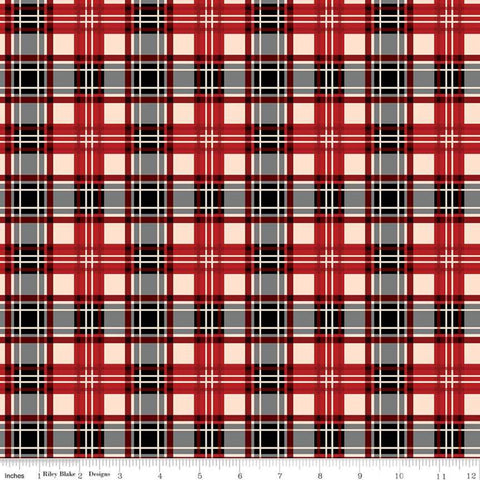 SALE Christmas Memories Plaid Red - Riley Blake Designs - Red Cream Black Gray Plaid  - Quilting Cotton Fabric