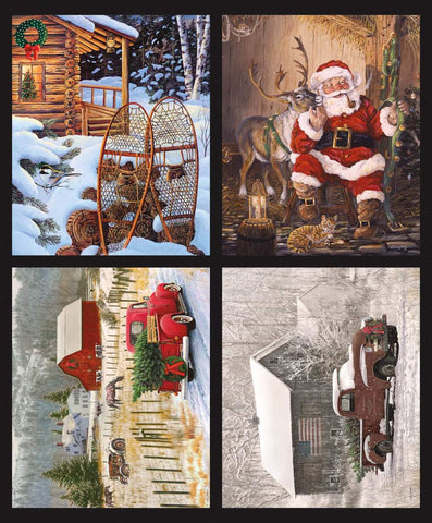 Christmas Memories Pillow Panel by Riley Blake Designs - Winter Snowshoes Santa Farm Barn Truck - Quilting Cotton Fabric
