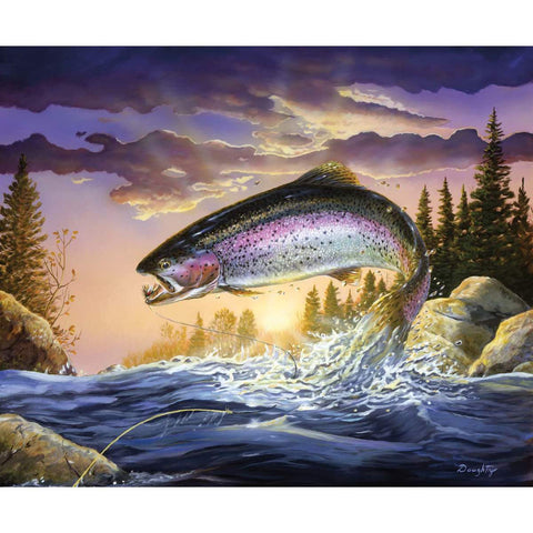 Fish and Fowl Trout Panel by Riley Blake Designs - Fly Fishing Outdoors - Quilting Cotton Fabric