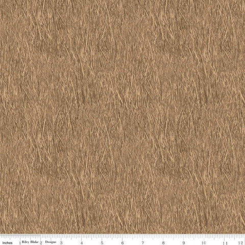 SALE Fish and Fowl Reeds Tan - Riley Blake Designs - Brown Outdoors Fishing Birds Plants  - Quilting Cotton Fabric