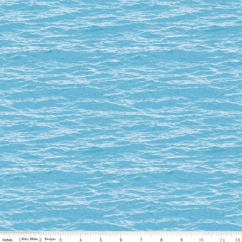 Fish and Fowl Water Light Blue - Riley Blake Designs - Outdoors Fishing Birds Nature - Quilting Cotton Fabric