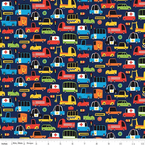 "Cops and Robbers Move-It Navy - Riley Blake Designs - Blue Juvenile Cartoon Cars Trucks Emergency -  Quilting Cotton 1 yard 25"" end of bolt"