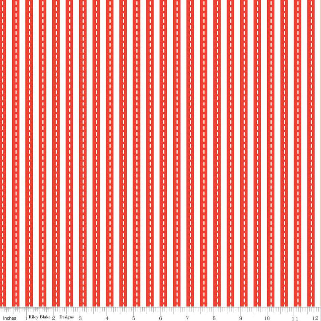 Cops and Robbers Lanes Red - Riley Blake Designs - Juvenile Cartoon Red White Stripe Stripes Striped Roads -  Quilting Cotton Fabric
