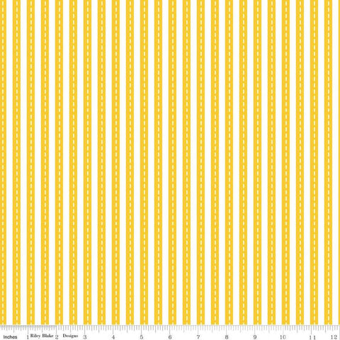 "Cops and Robbers Lanes Yellow - Riley Blake - Juvenile Cartoon White Striped Roads -  Quilting Cotton Fabric - 1 yard 9"" End of bolt piece"