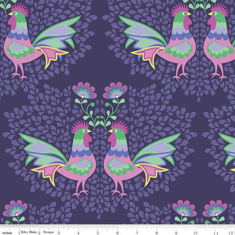 Lucy's Garden Main Plum - Riley Blake Designs - Purple Birds Roosters Chickens - Quilting Cotton Fabric