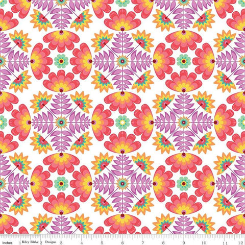 Lucy's Garden Tile Red - Riley Blake Designs - Symmetrical Floral Flowers on White - Quilting Cotton Fabric