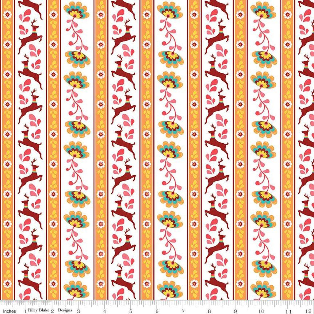 Lucy's Garden Stripe Orange - Riley Blake Designs - Striped on White Deer Floral Flowers - Quilting Cotton Fabric