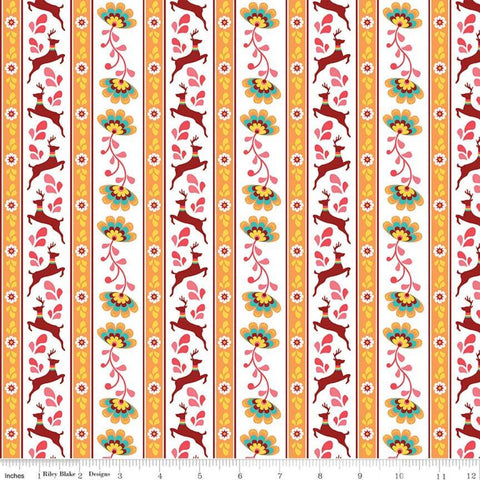 SALE Lucy's Garden Stripe Orange - Riley Blake Designs - Striped on White Deer Floral Flowers - Quilting Cotton Fabric