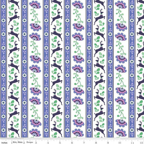 SALE Lucy's Garden Stripe Purple - Riley Blake Designs - Striped on White Deer Floral Flowers - Quilting Cotton Fabric