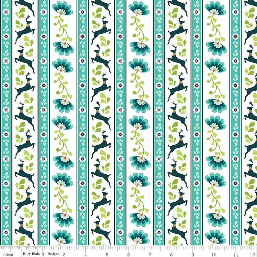 Lucy's Garden Stripe Teal - Riley Blake Designs - Blue Green White Striped Deer Floral  - Quilting Cotton Fabric