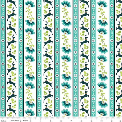 SALE Lucy's Garden Stripe Teal - Riley Blake Designs - Blue Green White Striped Deer Floral  - Quilting Cotton Fabric