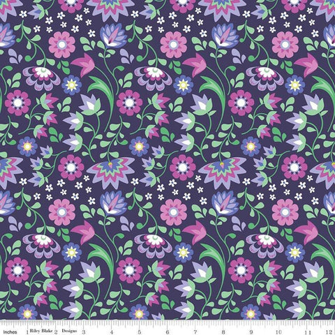 Lucy's Garden Floral Plum - Riley Blake Designs - Purple Flowers Floral - Quilting Cotton Fabric