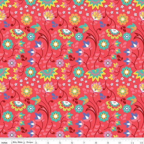 Lucy's Garden Floral Red - Riley Blake Designs - Flowers Floral - Quilting Cotton Fabric