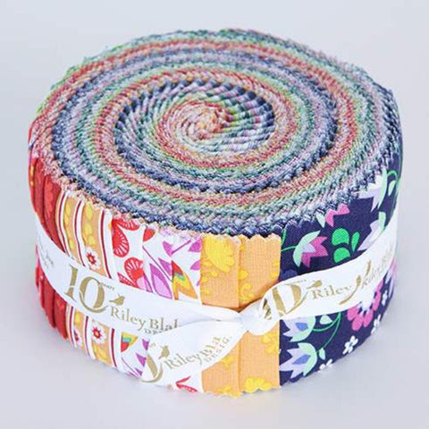 SALE Lucy's Garden 2.5-Inch Rolie Polie Jelly Roll 40 pieces Riley Blake Designs - Precut Bundle - Roosters Floral - Quilting Cotton Fabric