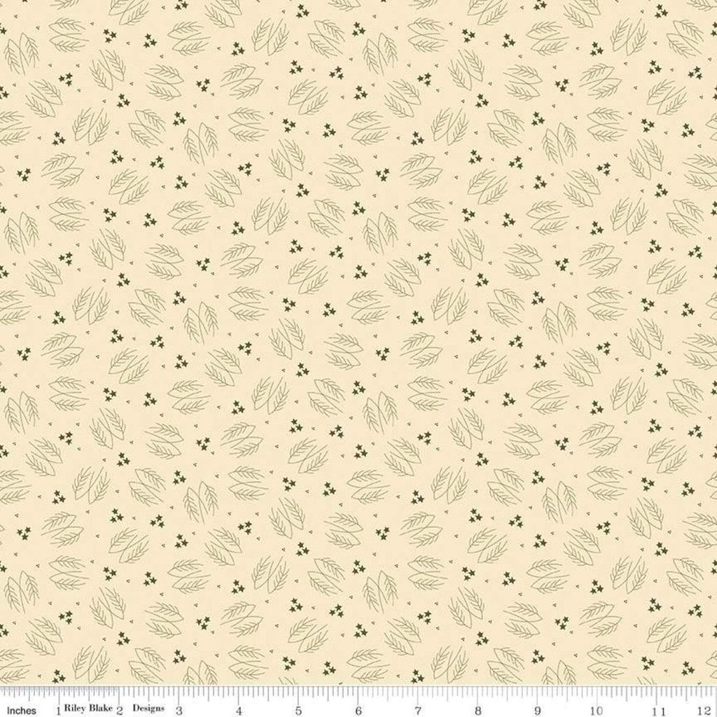Lumberjack Aaron Evergreen Branches Cream - Riley Blake Designs -  Tree Branches Stars Outdoors - Quilting Cotton Fabric