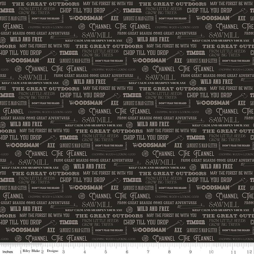 SALE Lumberjack Aaron Words Black - Riley Blake Designs -  Cream Logging Text Chopping Outdoors - Quilting Cotton Fabric