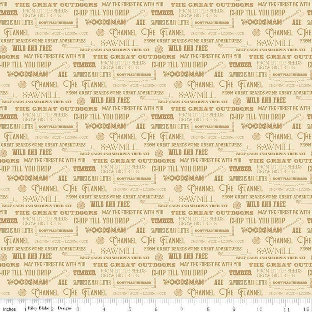 Lumberjack Aaron Words Cream - Riley Blake Designs -  Sayings Logging Text Chopping Outdoors - Quilting Cotton Fabric - end of bolt pieces