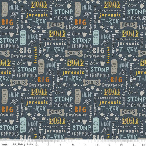 SALE Fossil Rim 2 Words Navy - Riley Blake Designs - Blue Juvenile Dinosaurs Animals Text Icons -  Quilting Cotton Fabric