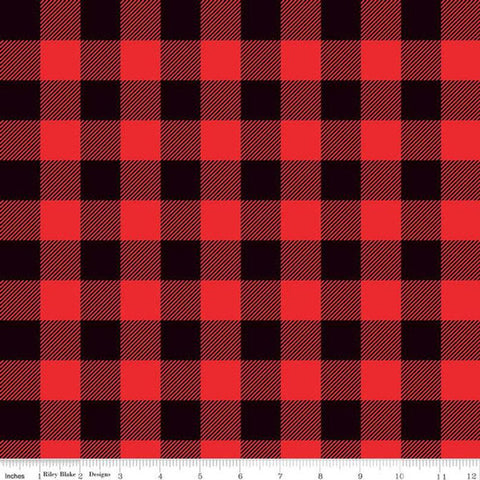 Let Them Be Little Lumberjack Plaid Black Red KNIT - Riley Blake Designs - Jersey KNIT cotton lycra stretch fabric