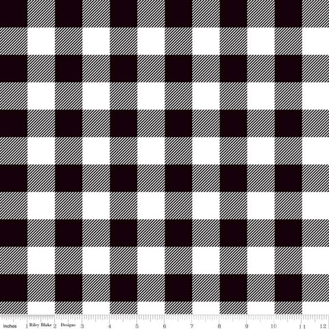 Let Them Be Little Lumberjack Plaid Black KNIT - Riley Blake Designs - Black White - Jersey KNIT cotton lycra stretch fabric