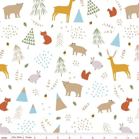 In the Forest Main White KNIT - Riley Blake Designs - Bears Deer Squirrels Rabbits Foxes - Jersey KNIT cotton lycra stretch fabric