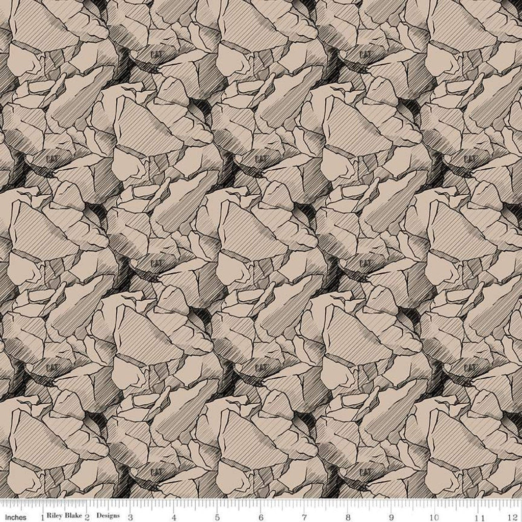 SALE CAT Rocks Tan - Riley Blake Designs - Brown Construction CAT Logo  - Quilting Cotton Fabric