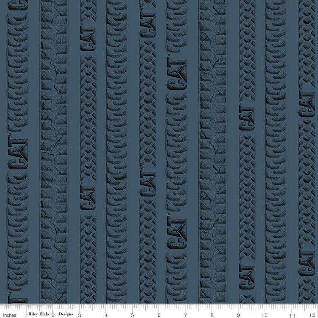 CAT Tracks Blue - Riley Blake Designs - Construction Tire Tracks Striped Stripes CAT Logo - Quilting Cotton Fabric