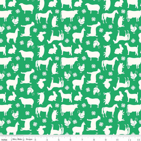 SALE 4-H Main Green - Riley Blake Designs - Green Cream Agriculture Farm Animals Horses Cows Sheep Goats Rabbits   - Quilting Cotton Fabric