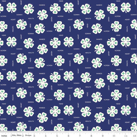 4-H Clovers Blue - Riley Blake Designs - Blue Cream Agriculture Head Heart Hands Health Youth 4-H Emblem - Quilting Cotton Fabric