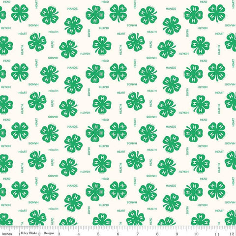 4-H Clovers Cream - Riley Blake Designs - Green Cream Agriculture Head Heart Hands Health Youth 4-H Emblem   - Quilting Cotton Fabric