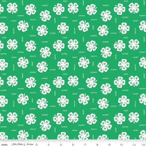 4-H Clovers Green - Riley Blake Designs - Green Cream Agriculture Head Heart Hands Health Youth 4-H Emblem - Quilting Cotton Fabric