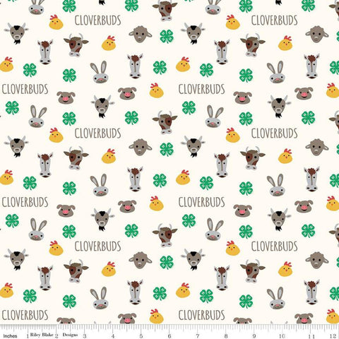 "SALE 4-H Cloverbuds Cream - Riley Blake - Agriculture Farm Animal Heads 4-H Emblem - Quilting Cotton Fabric - 1yd 12"" end of bolt piece"