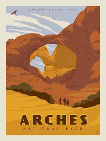 SALE National Parks Poster Panel Arches by Riley Blake Designs - Outdoors Recreation Utah - Quilting Cotton Fabric