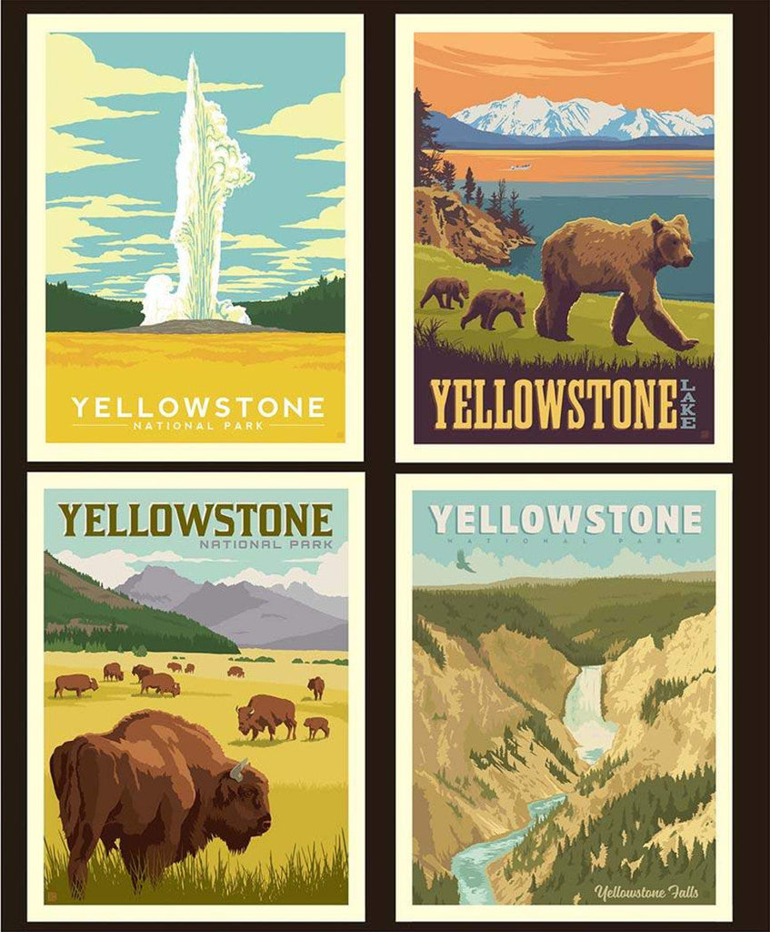 National Parks Pillow Panel Yellowstone by Riley Blake Designs - Outdoors Recreation Wildlife Wyoming Montana - Quilting Cotton Fabric