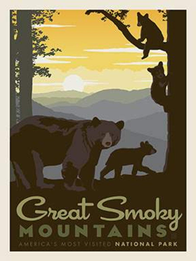 National Parks Poster Panel Great Smoky Mountains by Riley Blake Designs - Outdoors North Carolina Bears - Quilting Cotton Fabric