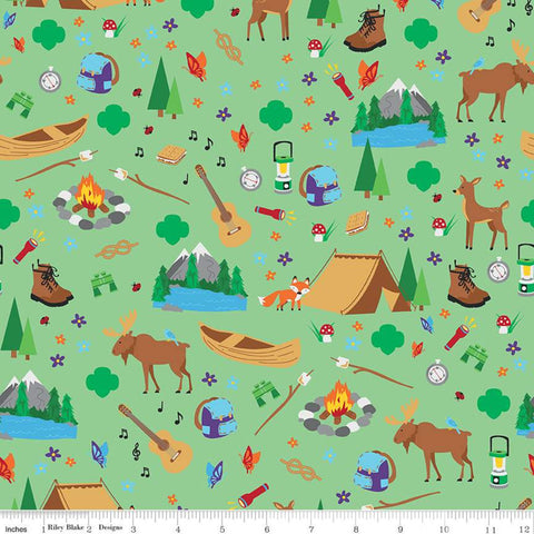 Girl Scout Camp Life Main Green - Riley Blake Designs - Campfires Tents Binoculars Mountains Wildlife Lanterns - Quilting Cotton Fabric