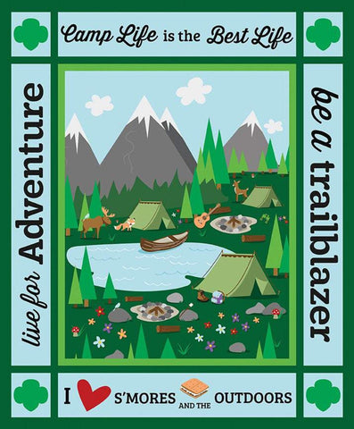 Girl Scout Camp Life Panel by Riley Blake Designs - Camping Scouting Outdoors Recreation - Quilting Cotton Fabric