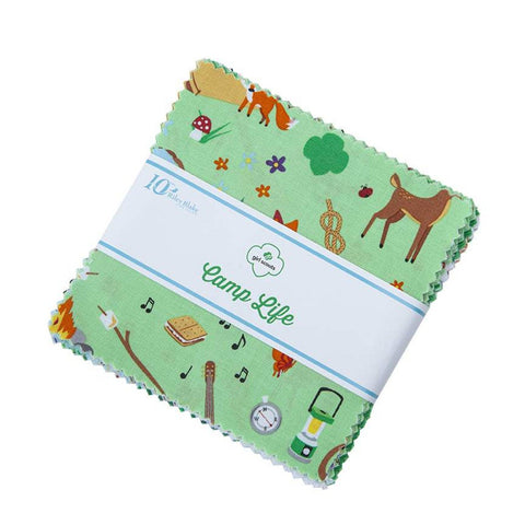 "Girl Scout Camp Life Charm Pack 5"" Stacker Bundle - Riley Blake Designs - 42 piece Precut Pre cut - Scouting - Quilting Cotton Fabric"