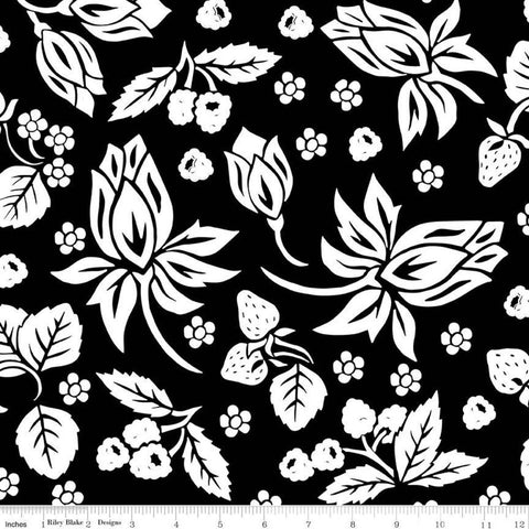 It's the Berries Main Black - Riley Blake Designs - Black White  Floral - Quilting Cotton Fabric - choose your cut